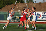 Placentia, CA 05/14/10 - Kristin Robbins (Los Alamitos # 15), Melissa Hastie (Los Alamitos # 16) and Julia Denney (Redondo #11) in action during the 2010 CIF Girls Lacrosse Championship game between Redondo Union and Los Alamitos, Los Alamitos defeated Redondo 24-7.