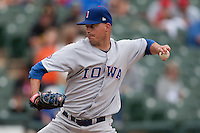 Iowa Cubs pitcher Scott Maine #24 delivers during the Pacific Coast League baseball game against the Round Rock Express on April 15, 2012 at the Dell Diamond in Round Rock, Texas. The Express beat the Cubs 11-10 in 13 innings. (Andrew Woolley / Four Seam Images).