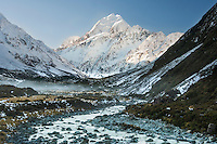 The Hooker River & Aoraki Mt Cook on a crystal clear frosty early winter's morning. Photographed from the Hooker Valley track.