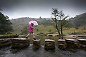 25/08/14 <br /> <br /> Sheltering under he r umbrella, Suzanne Roberts, 6, crosses the stepping stones at Dovedale in the Derbyshire Peak district as rain sweeps across the country for Bank Holiday Monday. Yesterday hundreds of day-trippers visited the same spot (sees before photos).<br /> <br /> All Rights Reserved: F Stop Press Ltd. +44(0)1335 300098   www.fstoppress.com.