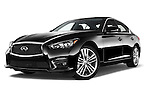 Stock pictures of low aggressive front three quarter view of a 2015 Infiniti Q50 Sport 4 Door Sedan