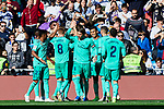 Players of Real Madrid celebrate goal during La Liga match between Real Madrid and RCD Espanyol at Santiago Bernabeu Stadium in Madrid, Spain. December 07, 2019. (ALTERPHOTOS/A. Perez Meca)