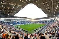 The Ghelamco Arena football stadium from football club KAA Gent in Ghent, designed by Bontinck Architecture and Engineering (Belgium, 31/08/2013)