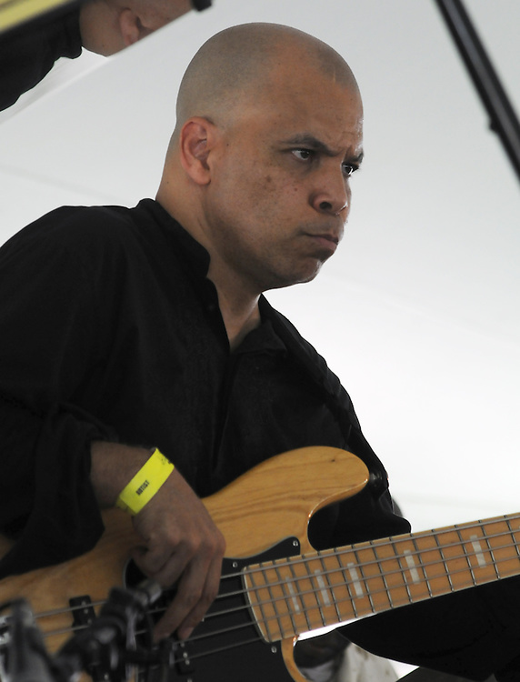Calvin Jones plays Bass, during the performance by the Craig Harris Group at the Annual Jazz in the Valley Festival,  in Waryas Park in Poughkeepsie, NY, on Sunday, August 21, 2016. Photo by Jim Peppler. Copyright Jim Peppler 2016 all rights reserved.