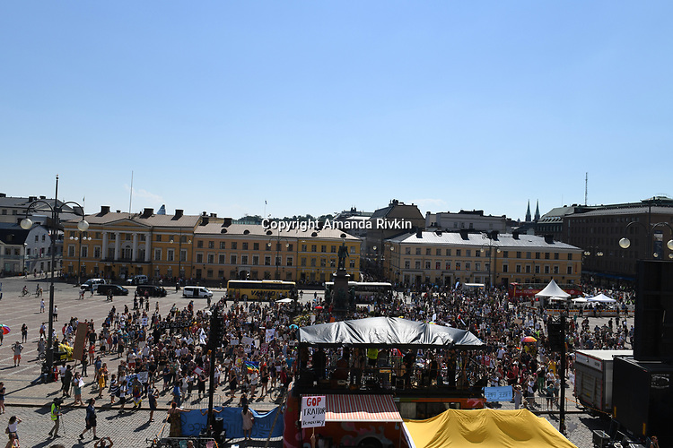 Helsinki Calling peace marchers gather in Senate Square a day ahead of the summit between US President Donald Trump and Russian President Vladimir Putin in Helsinki, Finland on July 15, 2018.