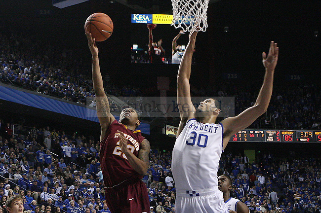 University of Kentucky forward Eloy Vargas goes up for a block in the game against Winthrop at Rupp Arena in Lexington, KY on December 22, 2010. Photo by Ryan Buckler   Staff