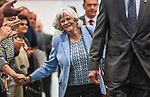 Brexit Party EU elections campaign launch at  The Neon in Newport, South Wales. Ann Widdecombe of the Brexit Party makes her way to the stage.
