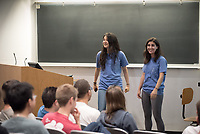 Students present their research as the Chemistry Department hosts a Chemistry Research Slam in Mosher 1, Oct. 19, 2017.<br /> (Photo by Marc Campos, Occidental College Photographer)