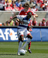 Chicago Fire defender Brandon Prideaux (6) pressures FC Dallas foward Jeff Cunningham (9).  FC Dallas defeated the Chicago Fire 3-0 at Toyota Park in Bridgeview, IL on May 31, 2009.