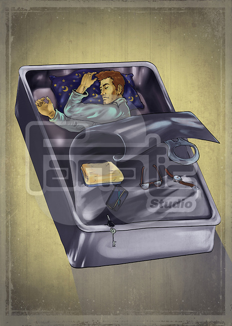 Man sleeping under sardine can depicting the concept of globe trekker