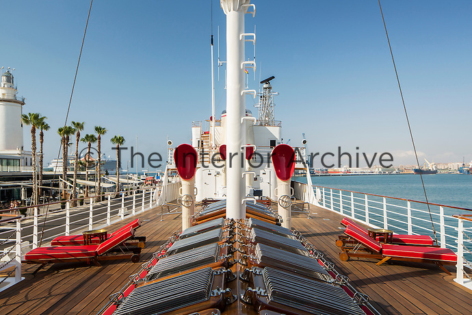 The impressive view down the main deck, where La Sultana is moored in Malaga harbour