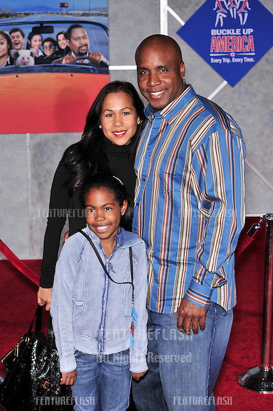 "Barry Bonds & wife & daughter at the world premiere of ""College Road Trip"" at the El Capitan Theatre, Hollywood..March 3, 2008  Los Angeles, CA.Picture: Paul Smith / Featureflash"
