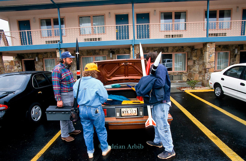 Rocketeers load  their home made  rockets into their cars from  the hotel rooms of the Best western Inn, Manchester Tennessee.