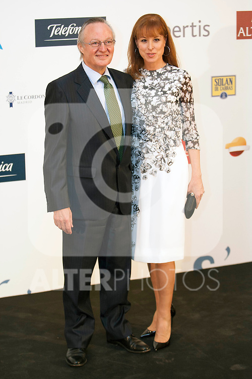 King Felipe of Spain and Queen Letizia of Spain attend 'XIII EDICI&Oacute;N DE LOS PREMIOS INTERNACIONALES DE PERIODISMO 2013 Y CONMEMORACI&Oacute;N DEL 25&ordm; ANIVERSARIO DEL DIARIO &ldquo;EL MUNDO&quot; at The Westin Palace Hotel.<br /> Josep Pique and Wife<br />  October 20, 2014. (ALTERPHOTOS/Emilio Cobos)