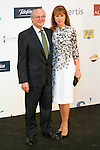 "King Felipe of Spain and Queen Letizia of Spain attend 'XIII EDICIÓN DE LOS PREMIOS INTERNACIONALES DE PERIODISMO 2013 Y CONMEMORACIÓN DEL 25º ANIVERSARIO DEL DIARIO ""EL MUNDO"" at The Westin Palace Hotel.<br /> Josep Pique and Wife<br />  October 20, 2014. (ALTERPHOTOS/Emilio Cobos)"