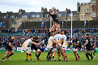 Elliott Stooke of Bath Rugby wins the ball at a lineout. Heineken Champions Cup match, between Bath Rugby and Wasps on January 12, 2019 at the Recreation Ground in Bath, England. Photo by: Patrick Khachfe / Onside Images