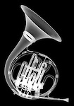 X-ray image of a French horn (white on black) by Jim Wehtje, specialist in x-ray art and design images.