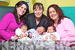 New years babies born the at Kerry General hospital in Tralee From Left Saoirse O'Connell with mother Tara Crean, Castlemaine Bridge, William Scanlon with Mother Bernie Scanlon Marian Park Tralee and Kian Cronin with Mother Sharon Ballinorig, Tralee.
