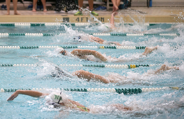 Denton, TX - JANUARY 18: Michelle Balcaen of North Texas Mean Green swimming and diving team competes in the 100 Yard Freestyle in lane 6 against Tulane University Green Wave at Pohl Recreation Center in Denton on January 18, 2014 in Denton, Texas.