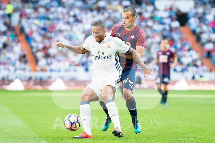 Real Madrid's player Danilo Luiz Da Silva and Eibar FC's player Pedro Leon Sanchez during a match of La Liga Santander at Santiago Bernabeu Stadium in Madrid. October 02, Spain. 2016. (ALTERPHOTOS/BorjaB.Hojas)