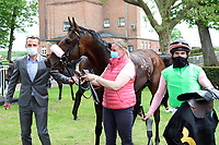 10.05.2020, Hoppegarten, Brandenburg, Germany; Rubaiyat with Andrasch Starke and trainer Henk Grewe after the victory at the Dr Busch Memorial