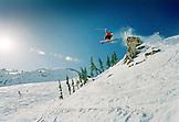 USA, Utah, skier getting big air on the Baldy Shoulder, Alta Ski Resort