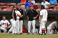 Illinois State Redbirds head coach Bo Durkac (center) talks to his team during a game against the Bowling Green Falcons on March 11, 2015 at Chain of Lakes Stadium in Winter Haven, Florida.  Illinois State defeated Bowling Green 8-7.  (Mike Janes/Four Seam Images)