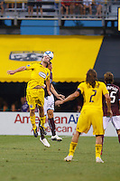 21 AUGUST 2010:  Jason Garey of the Columbus Crew (9) and Colorado Rapids defender Scott Palguta (29) during MLS soccer game between Colorado Rapids vs Columbus Crew at Crew Stadium in Columbus, Ohio on August 21, 2010.