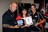 Secondary School Girls Most Improved Player of the Year Aroha Herewini with DJ Forbes & Chad Tuoro. Counties Manukau Rugby Union Junior representative prize giving held at Growers Stadium on Monday October 20th 2008.