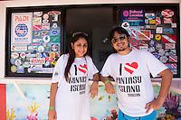 "Honduras, Roatan Island, Fantasy Island Resort, Caribbean. Couple wearing ""I Love Fantasy Island"" t-shirts."