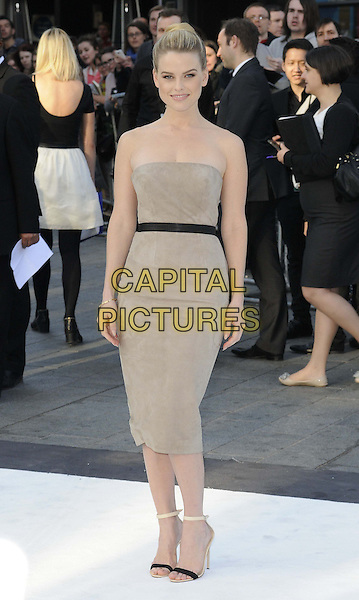 Alice Eve.attending the UK film premiere of 'Star Trek Into Darkness 3D' held at the Empire Cinema, Leicester Square, London, United Kingdom, .2nd May 2013..full length strapless beige nude grey gray dress black waistband shoes sandals ankle strap belt .CAP/CAN.©Can Nguyen/Capital Pictures.