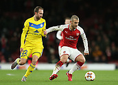 7th December 2017, Emirates Stadium, London, England; UEFA Europa League football, Arsenal versus BATE Borisov; Ihar Stasevich of BATE Borisov puts pressure on Jack Wilshere of Arsenal