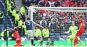 June 10th 2017, Hampden park, Glasgow, Scotland; World Cup 2018 Qualifying football, Scotland versus England; Andrew Robertson shoots on goal but is high and wide