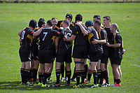 The Wellington team huddles before the 2017 National Police Rugby Tournament rugby union match between Wellington and Barbarians at Rotorua International Stadium in Rotorua, New Zealand on Friday, 1 September 2017. Photo: Dave Lintott / lintottphoto.co.nz