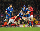 17th March 2018, Principality Stadium, Cardiff, Wales; NatWest Six Nations rugby, Wales versus France; Camille Chat of France is tackled by Ken Owens of Wales