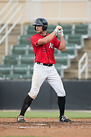 Aaron Schnurbusch (21) of the Kannapolis Intimidators at bat against the Greensboro Grasshoppers at Kannapolis Intimidators Stadium on August 13, 2017 in Kannapolis, North Carolina.  The Grasshoppers defeated the Intimidators 4-1 in 10 innings in the completion of a game suspended on August 12, 2017.  (Brian Westerholt/Four Seam Images)