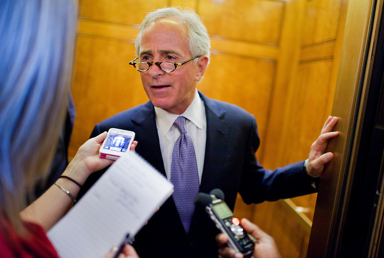 UNITED STATES - JUNE 28:  Sen. Bob Corker, R-Tenn., talks with a reporter before the senate republican policy luncheons in the Capitol.  (Photo By Tom Williams/Roll Call)