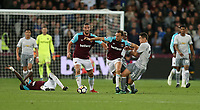 West Ham United's Mark Noble is taken down by Manchester United's Paul Pogba<br /> <br /> Photographer Rob Newell/CameraSport<br /> <br /> The Premier League - West Ham United v Manchester United - Thursday 10th May 2018 - London Stadium - London<br /> <br /> World Copyright &copy; 2018 CameraSport. All rights reserved. 43 Linden Ave. Countesthorpe. Leicester. England. LE8 5PG - Tel: +44 (0) 116 277 4147 - admin@camerasport.com - www.camerasport.com