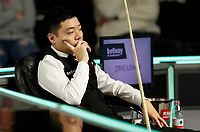 27th November 2019; York, England;  Ding Junhui of China reflects during the first round match against Duane Jones of Wales at the UK Snooker Championship 2019 in York on Nov. 27, 2019.