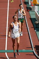 Giorgio Rubino finished 5th. in the  20k racewalk with a mark of 1:23:39  on Sunday morning August 26, 2007. Photo by Errol Anderson,The Sporting Image.