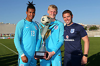 England Goalkeeping Coach, Mark Mason, with Ellery Balcombe of Brentford FC and Ryan Schofield of Huddersfield Town AFC celebrate winning the Toulon Trophy during England Under-18 vs Ivory Coast Under-20, Toulon Tournament Final Football at Stade de Lattre-de-Tassigny on 10th June 2017