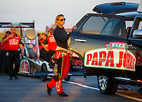 Sep 23, 2016; Madison, IL, USA; NHRA driver Leah Pritchett, pilot of the Papa Johns Pizza sponsored top fuel dragster of Don Schumacher Racing during qualifying for the Midwest Nationals at Gateway Motorsports Park. Mandatory Credit: Mark J. Rebilas-USA TODAY Sports