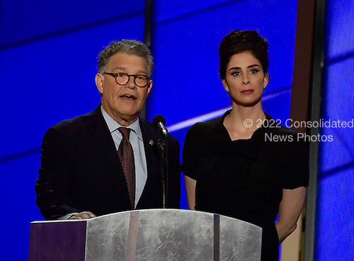 United States Senator Al Franken (Democrat of Minnesota) and Sarah Silverman make remarks at the 2016 Democratic National Convention at the Wells Fargo Center in Philadelphia, Pennsylvania on Monday, July 25, 2016.<br /> Credit: Ron Sachs / CNP<br /> (RESTRICTION: NO New York or New Jersey Newspapers or newspapers within a 75 mile radius of New York City)