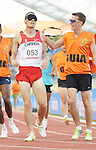 November 17 2011 - Guadalajara, Mexico:  Jason Dunkerley get congratualted by his guide Cody Boast after winning silver in the Men's 1500m - T11 in the Telmex Athletic's Stadium at the 2011 Parapan American Games in Guadalajara, Mexico.  Photos: Matthew Murnaghan/Canadian Paralympic Committee