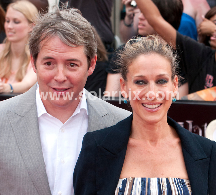 **ALL ROUND PICTURES FROM SOLARPIX.COM**                                             **UK SYNDICATION RIGHTS ONLY**    .Caption: New York premiere of Harry Potter And The Deathly Hallows: Part 2. Held at the Avery Fisher Hall, Lincoln Center, New York , USA. July 11, 2011.                                                                         This pic: Matthew Broderick, Sarah Jessica Parker                                                                                     JOB REF: 13693 RHB       DATE: 11_07_2011                                                           **MUST CREDIT SOLARPIX.COM OR DOUBLE FEE WILL BE CHARGED**                                                                      **MUST AGREE FEE BEFORE ONLINE USAGE**                               **CALL US ON: +34 952 811 768 or LOW RATE FROM UK 0844 617 7637**