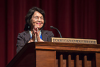 Longtime labor leader Dolores Huerta, 81, speaks at Occidental College's Thorne Hall on March 25, 2014. Along with Cesar Chavez, Huerta cofounded the National Farmworkers Union, later known as the United Farm Workers. A recipient of the Presidential Medal of Freedom, she continues to work tirelessly, developing leaders and advocating for the working poor, women and children. As president of the Dolores Huerta Foundation, she travels across the country speaking to students and organizations about issues of social justice and public policy.  She first spoke at Occidental in May 1970.<br /> (Photo by Marc Campos, Occidental College Photographer)