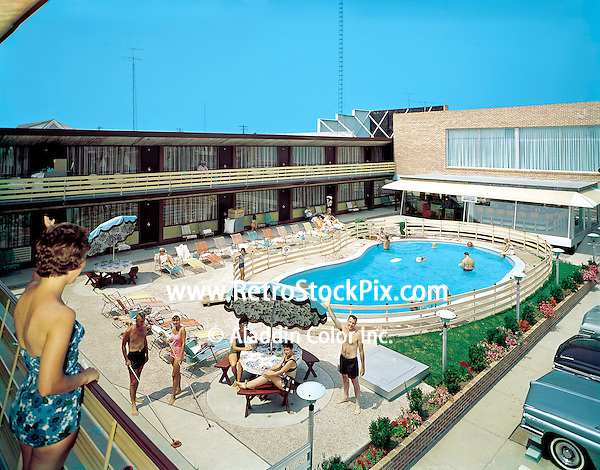 Eden Roc Motel in Wildwood, NJ. Pool area showing the shuffleboard and patio areas. Approx. date of this picture is 1963.