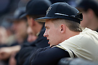 DJ Poteet (4) of the Wake Forest Demon Deacons watches from the dugout during the game against the Notre Dame Fighting Irish at David F. Couch Ballpark on March 10, 2019 in  Winston-Salem, North Carolina. The Demon Deacons defeated the Fighting Irish 7-4 in game one of a double-header.  (Brian Westerholt/Four Seam Images)