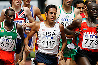 Leonel Manzano of the USA ran 3:45.97sec. in the 1st. round of the 1500m at the 11th. IAAF World Championships in Osaka, Japan on Saturday, August 25, 2007. Photo by Errol Anderson,The Sporting Image.Assorted images of the 11th. World  Track and Field Championships held in Osaka, Japan.