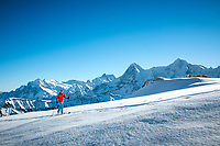 Ski touring in the Jungfrau Region, above Lauterbrunnen Valley, with views of the Eiger, Mönch and Jungfrau, Switzerland